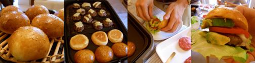 ハンバーガー調理過程